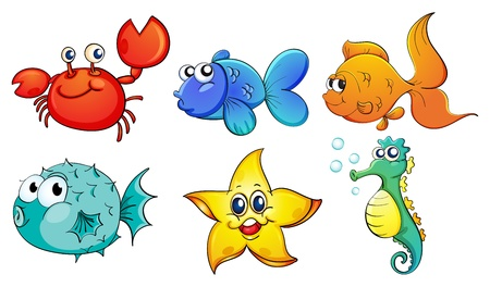sea green: Illustration of the different sea creatures on a white background