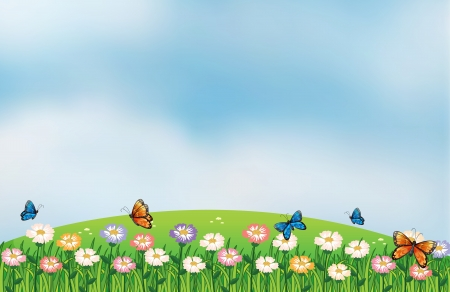 Illustration of the butterflies in the garden at the top of the hills Vector