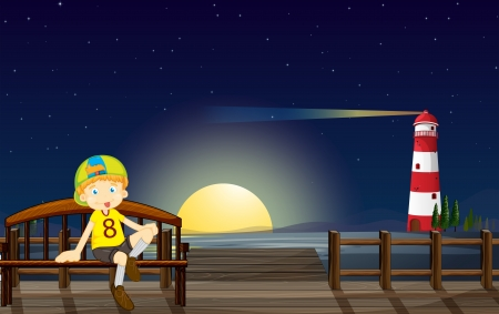 Illustration of a boy sitting at the bench in the middle of the night Vector