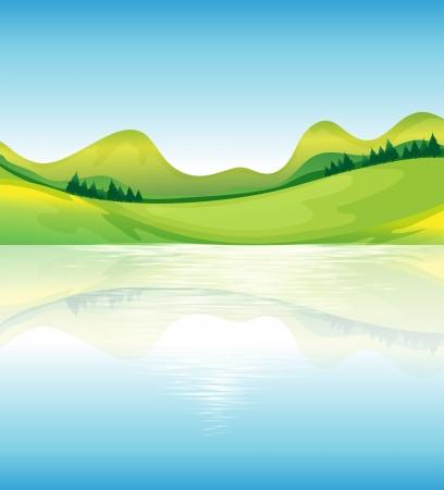 Illustratie van het uitzicht op het water en het groene land middelen Vector Illustratie