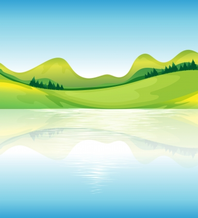 Illustration of the view of the water and the green land resources Vector