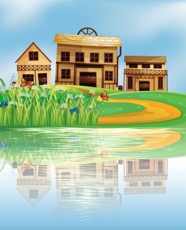 Illustration of the pond with a reflection of the wooden houses Vector