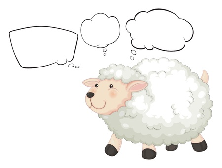 Illustration of a lamb with empty thoughts on a white background Vector