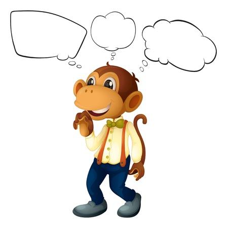 мысль: Иллюстрация мужского обезьяна с пустыми мыслями на белом фоне Иллюстрация