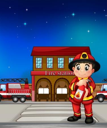 camion de bomberos: Ilustraci�n de un bombero con un extintor