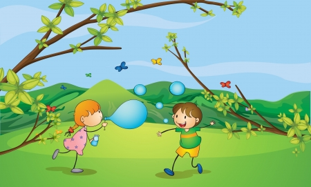Illustration of kids playing blowing bubbles Vector