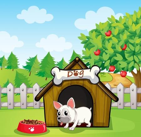 cute dog cartoon: Illustration of a dog outside its dog house with a dog food