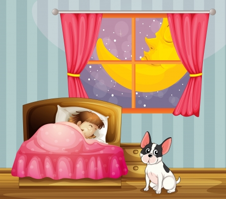 dog sleeping: Illustration of a girl sleeping in her room with a dog Illustration
