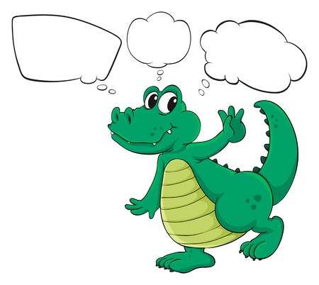 picutre: Illustration of the crocodile with empty thoughts on a white background Illustration