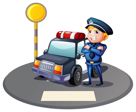 Illustration of a cop beside a police car with a yellow outpost on a white background Vector