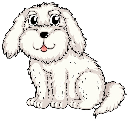 drawings image: Illustration of a white puppy on a white background