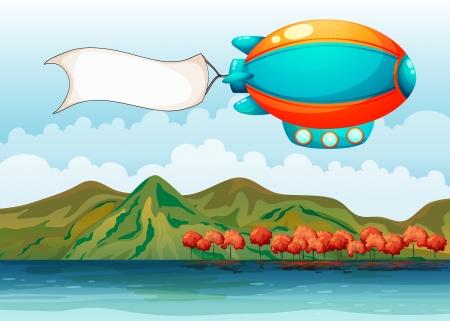 luftschiff: Illustration des leeren banner von der bunten Luftschiff durchgeführt