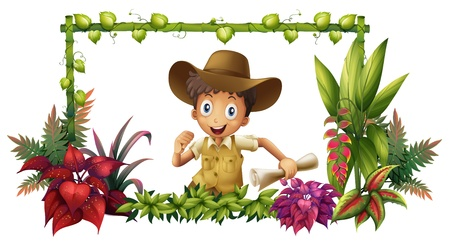 vine border: Illustration of the jungle boy on a white background Illustration