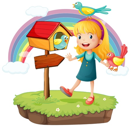 signboard: Illustration of a girl beside a wooden mailbox with three birds on a white background