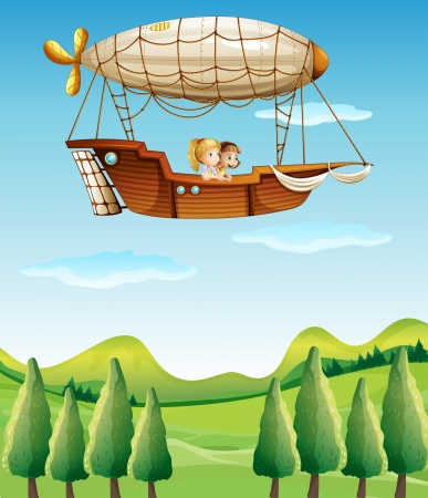 Illustration of the girls riding in an airship Stock Vector - 18158517