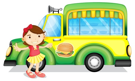 Illustration of a girl beside a green burger truck on a white background Vector