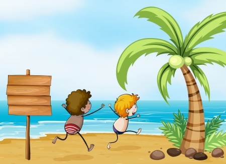 Illustration of the children having fun at the beach Vector
