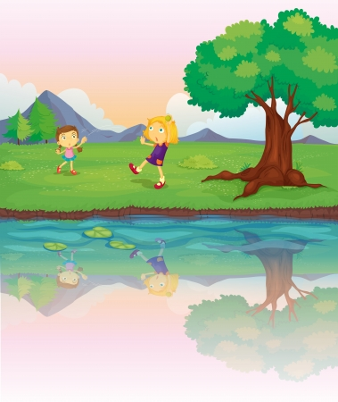 riverbank: Illustration of the two girls at the riverbank Illustration