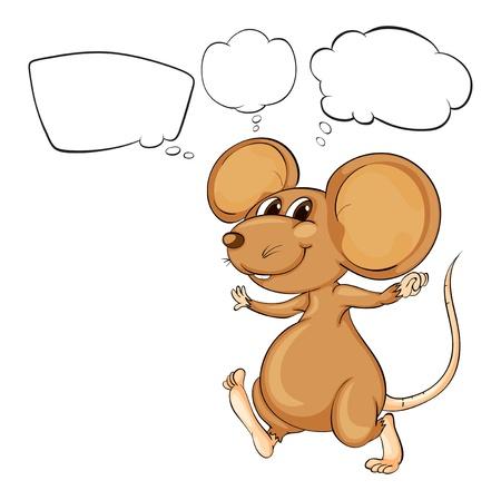 raton caricatura: Ilustración del ratón poderoso marrón sobre un fondo blanco