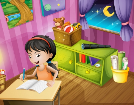 bedroom wall: Illustration of a girl holding a pencil Illustration