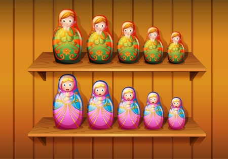 arranged: Illustration of dolls arranged in the wooden shelves