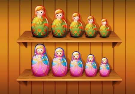 muñecas rusas: Ilustración de muñecos dispuestos en las estanterías de madera