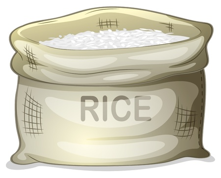 cooked rice: Illustration of a sack of white rice on a white background