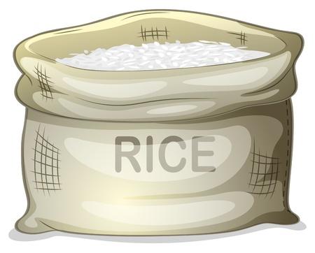 arroz chino: Ilustración de un saco de arroz blanco en un fondo blanco Vectores