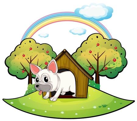 Ilustración de un perro dentro de la casa del perro con un árbol de manzana en la parte posterior en un fondo blanco Foto de archivo - 18134011