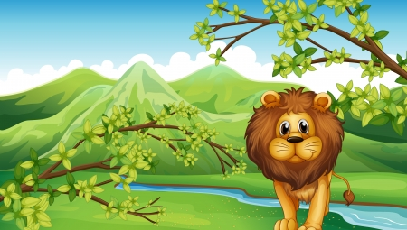 Illustration of the mountain view with a lion and a river Stock Vector - 18158402