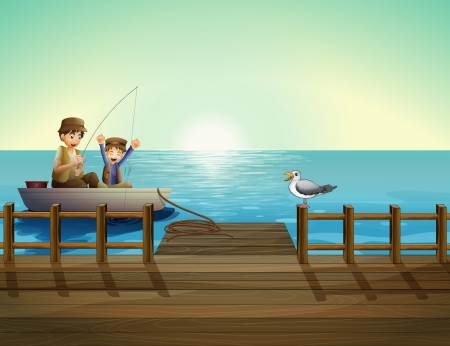 cartoon fishing: Illustration of a father and a child fishing near the bridge Illustration