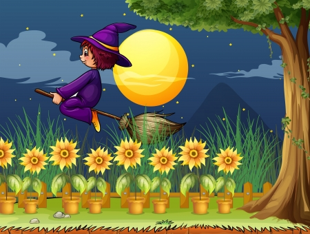 broomstick: Illustration of a witch in the garden