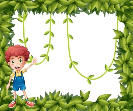 덩굴 식물 잎의 프레임을 보여주는 소년의 그림 일러스트
