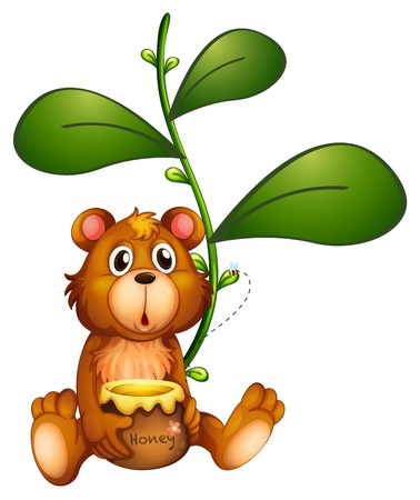 Illustration of a bear near a vine plant on a white background Vector