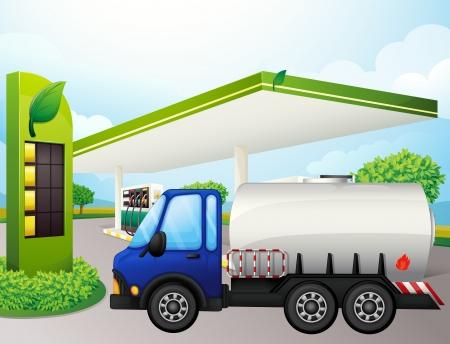 Illustratie van een olietanker in de voorkant van een benzine station