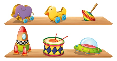 cymbals: Illustration of two wooden shelves with different objects on a white background