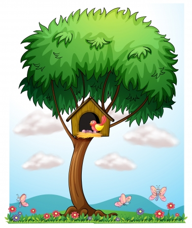 Illustration of a bird in a tree with a bird house on a white background Vector