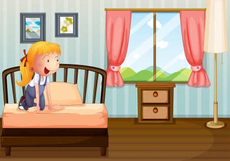 Illustration of a girl smiling at her room Vector