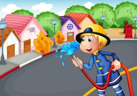 Illustration of the fireman holding a hose rescuing a village on fire Vector