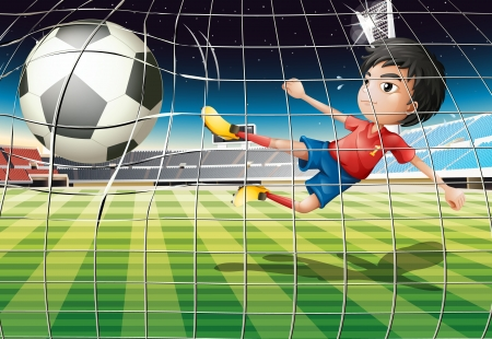Illustration of a boy kicking the ball at the soccer field Vector