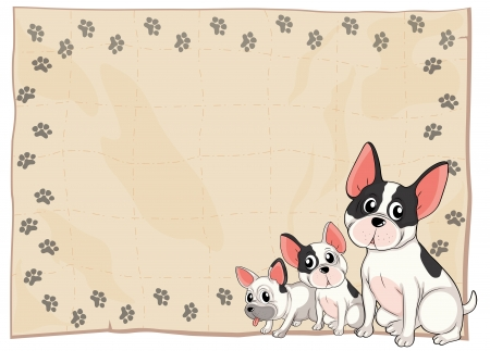 Illustration of the three puppies on a white background Vector