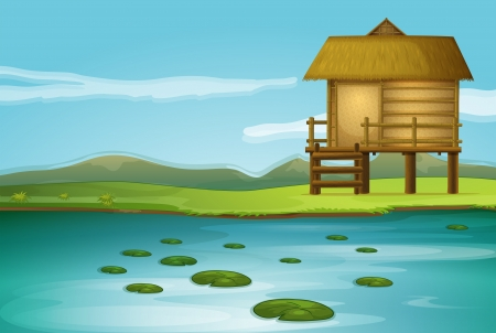 Illustration of a cottage near the river Vector