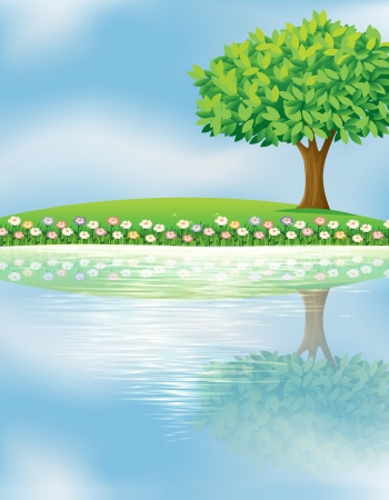 Illustration of a big tree near the river Vector