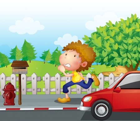 jobbing: Illustration of a boy running at the street with a mailbox Illustration