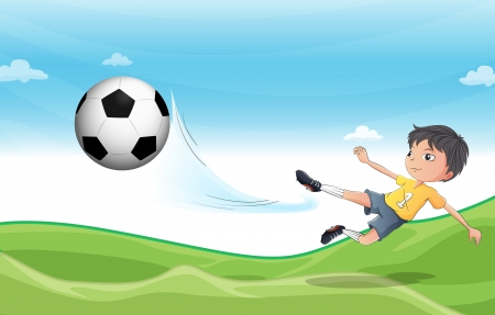 kids playing sports: Illustration of a boy playing football at the hills