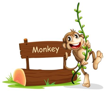 animales del zoologico: Ilustración de un mono sonriente al lado de una señalización Vectores