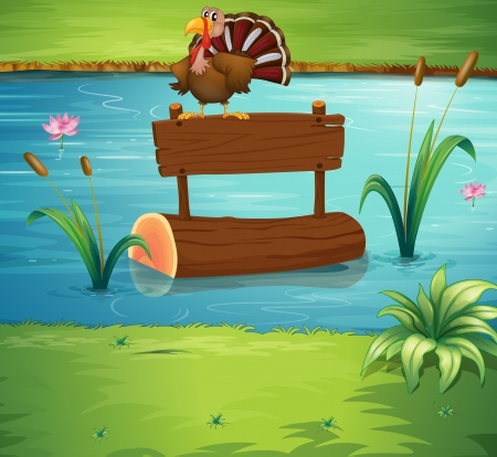 river trunk: Illustration of a turkey above a floating trunk at the river