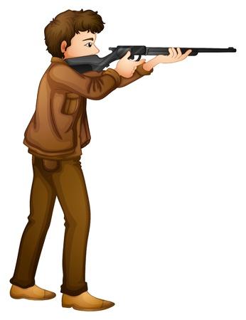 geweer: Illustratie van een mannelijke jager op een witte achtergrond