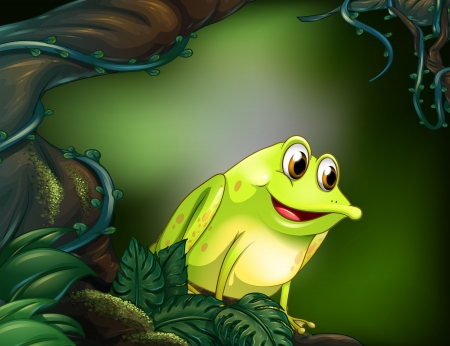 Illustration of a big tree with a green frog Vector