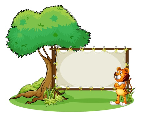 Illustration of a tiger beside the empty framed signboard on a white background